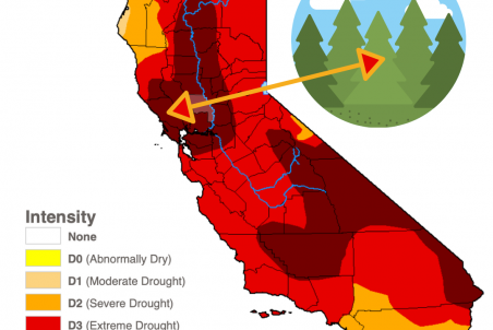 drought map of California. Shows most of state in extreme or exceptional drought.