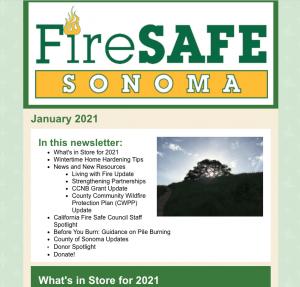 Screenshot of Fire Safe Sonoma e-news for January 2021
